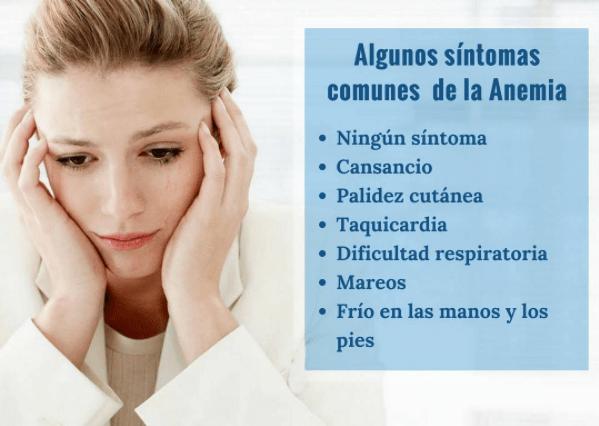 anemia sintomas fisicos